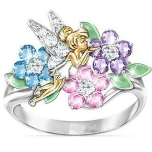 Adorably sweet Tinkerbell fairy in flowers ring #7